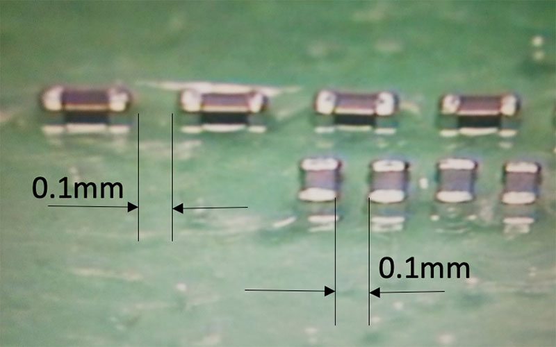 0201実装 最小0.1mmギャップ実装