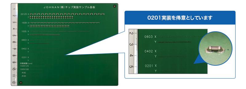 JOHNAN株式会社の極小実装 サンプル基板 0201実装