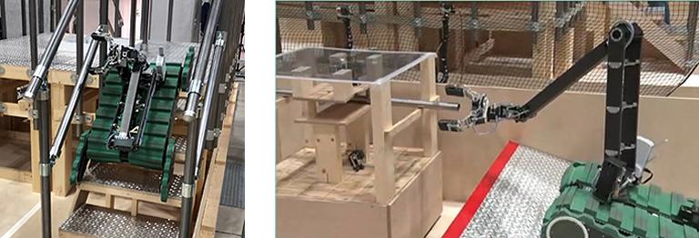 [左]フリッパクローラを使って階段を移動する様子,[右]ジャミンググリッパを使って作業をする様子